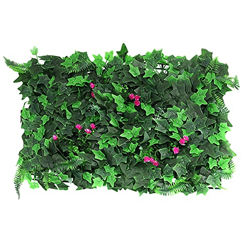 Eeneme 1pc Artificial Leaves Fence Panels with Flower, Artificial Wall Backdrop, Balcony Ivy Privacy...
