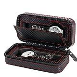 Balight 2 4 8 - Caja de Almacenamiento para Relojes con Ranura y Rejilla de Piel de Carbono, con Cremallera, portátil, Organizador de Viaje,...