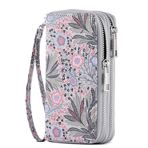 HAWEE Cellphone Wallet Dual Zipper Wristlet Purse with Credit Card Case/Coin Pouch/Smart Phone Pocket Soft Leather for Women or Lady, Pink Fissidens Flower