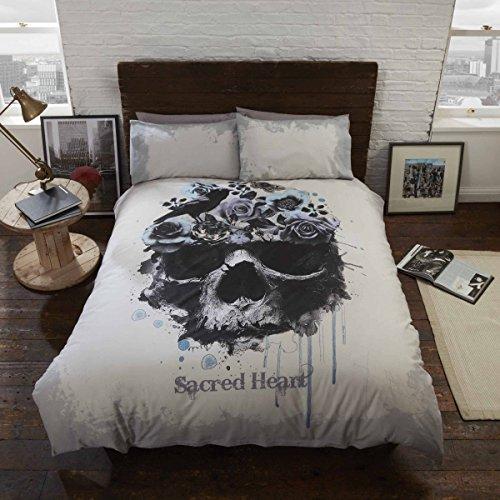 Sacred Heart Set Funda nórdica y Funda de Almohada con diseño de Calavera gótica, Doble