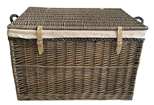Red Hamper Large Antique Wash Storage Wicker Willow Basket with White Lining