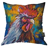 Moslion Rooster Throw Pillow Case Oil Painting of Farm Animal Colorful Rooster Hen Cock Pillow Cover Decorative Square Cushion Accent Cotton Linen 20x20 Inch for Sofa Chair