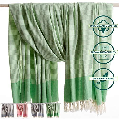ANATURES Hamamdoek - Plaid XXL TRAVELER | Premium - Oeko-TEX® - Fairtrade - Bio Katoen - Strandlaken Extra Groot - Plaid - Woondeken - Handdoek - Badlaken - Sauna - Fouta | (Groen, 180 x 240 cm)