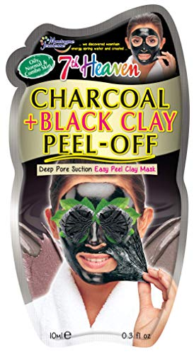 7th Heaven Charcoal and Black Clay Peel Off Mask 10ml for Deep Pore Suction on Oily, Normal or Combination Skin
