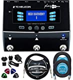 TC Helicon Play Acoustic Vocal Effects Stompbox Bundle with 12V 400mA DC Power Supply, Blucoil 10-FT...