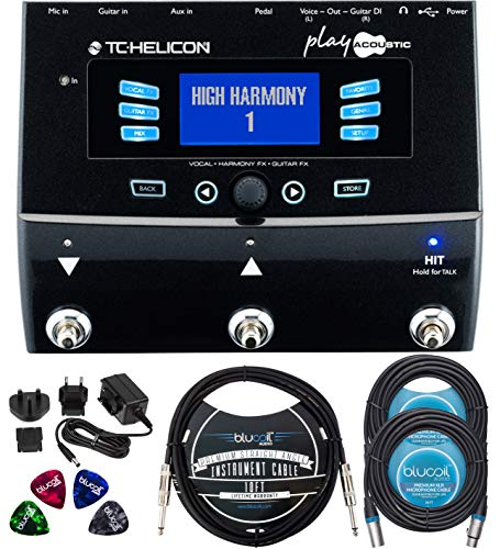 TC Helicon Play Acoustic Vocal Effects Stompbox Bundle with 12V 400mA DC Power Supply, Blucoil 10-FT Straight Instrument Cable (1/4in), 2-Pack of 20-FT Balanced XLR Cables, and 4x Guitar Picks