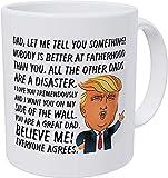 Papá,te quiero a mi lado de la pared. Nadie es mejor en la paternidad,el Día del Padre,Donald Trump,S Taza de café divertida