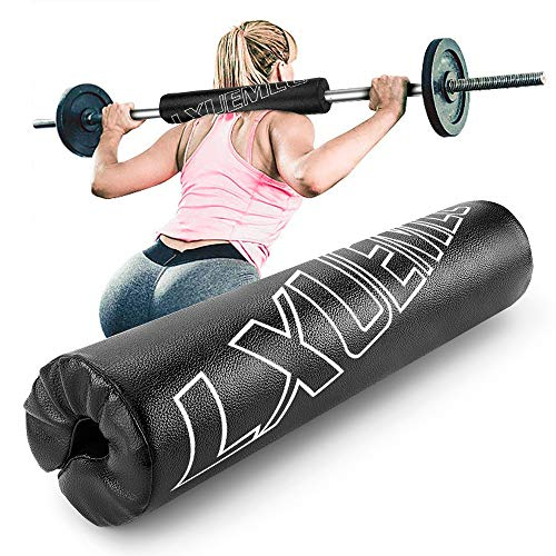【2021 Upgraded】 Leather Pro Squat Pad Barbell Pad for Squats Lunges and Hip Thrusts  Foam Sponge Pad  Provides Relief to Neck and Shoulders While Training