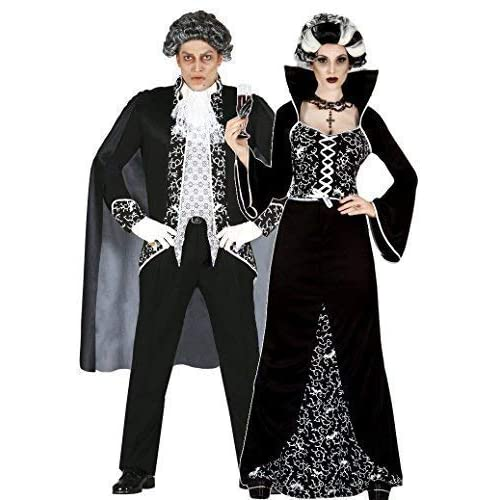 f616df811258 Ladies and Mens Couples Black White Royal Vampire Halloween Fancy Dress  Costumes Outfits (UK