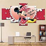 Cuadro de 5 paneles de Minnie Mouse, lienzo en la pared, imagen para habitación de niños, decoración del hogar, cuadro modular, póster de dibujos animados artísticos