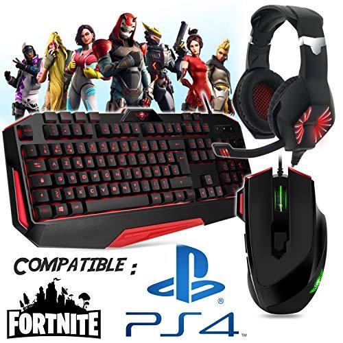 Gamer toetsenbord, muis, hoofdtelefoon en mat, compatibel met Fortnite PS4