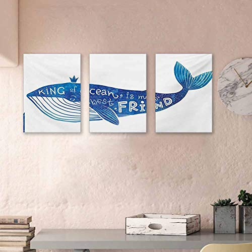 """Whale Oil Canvas Painting Kind of Ocean is My Best Friend Quote with Whale Fish Paintbrush Artsy Picture Canvas Wall Art Decorations for Kids Room, 16""""x24""""x3 Piece Violet Blue White"""