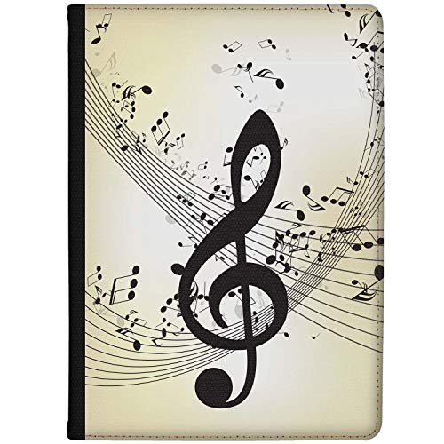Azzumo Music Lovers G Clef Design Faux Leather Case Cover/Folio for the Vodafone Smart Tab N8 (2017)