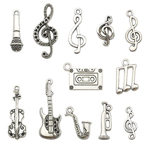 100g Wholesale Bulk Craft Supplies Instrument Silver Music Notes Charms Pendants for Crafting, Jewelry Findings Making Accessory for DIY Necklace Bracelet Earrings HM099