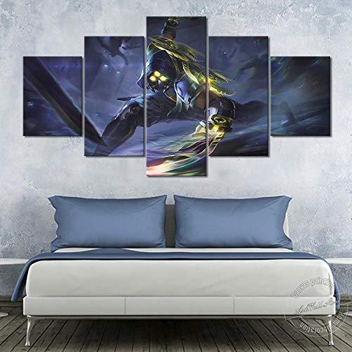League Of Legends Zed Psyops Skins Imagen de pared para decoración de sala de estar y sala de juegos Lol The Master Of Shadows Playing Poster Bonito regalo (sin marco)
