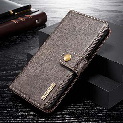 DG.MING Wallet Case Echt Leder 2in1 Schutz Hülle Backcover Handy Tasche Magnet Klapp Etui Grau für Huawei P30 Lite