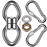 SELEWARE Silent Bearing Swing Swivel w/ 2 Carabiners, Stainless Steel 1200LB 360° Rotational Device Hanging Accessory for Tree Swing, Hammock Chair, Climbing Rope, Yoga, Kids Swing Swivel climbing ropes May, 2021