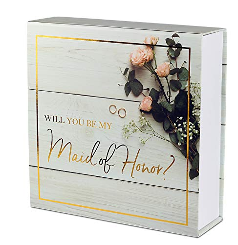 Maid of Honor Proposal Box - Premium Gold Stamped - 'Will You be My Maid Honor?' | Empty Box | Perfect for Maid of Honor Gift