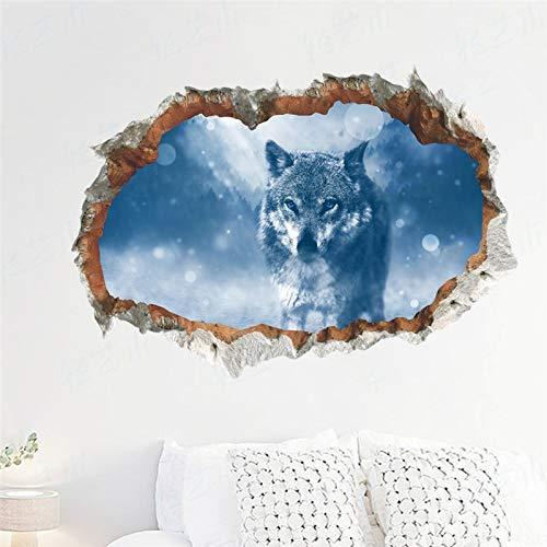 Etiqueta engomada de la pared del patrón del agujero 3d vivo para la decoración del hogar de la tienda de la oficina de los hombres Peugeot Animal Wolf paisaje mural arte etiqueta de la pared 50x70cm