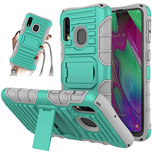 JammyLizarD Outdoor Hülle kompatibel mit Samsung Galaxy A40 2019 Schutzhülle mit Handyband [Taurus] Doppelschutz Hardcase Silikon TPU Skin, Türkis