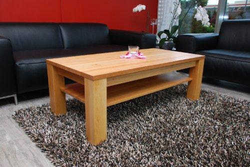 Holz-Projekt-Summer Couchtisch-Tisch 120x60 mit Ablage Erle/Echtholz/Massivholz/Höhe 42 cm