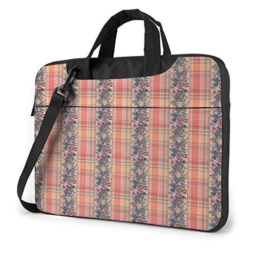 15.6″Lightweight Laptop Notebook Shoulder Backpack Bag Red Tartan Flowers Waterproof PC Briefcase Messenger with Strap