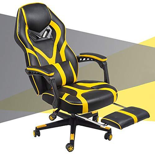 Silla ergonómica para videojuegos con reposapiés, respaldo alto, reclinable ajustable para adultos, silla de juegos de PC, silla de piel sintética con reposacabezas almohada lumbar, 55 x 52 x 82 cm