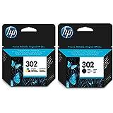 HP 302 F6U65AE Cartucho Original para impresorasde inyección de Tinta, Compatible con DeskJet 1110, 2130 e 3630, HP OfficeJet 3830 e 4650, HP Envy 4520, Pack de 2