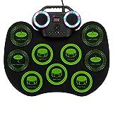 NiuCoo Grünes 9-Pads-E-Drum-Set Tragbares Drum-Bluetooth-Übungs-Drum-Pad, Drum-Kit mit...