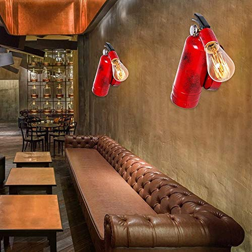 ZpLMW 1-Light Retro Industrial IronWall Lamp Vintage Creative Personality Red Fire Extinguisher Wall Light Bar Restaurant Aisle Wall Sconce Indoor Bedroom Bedside Lamp E27