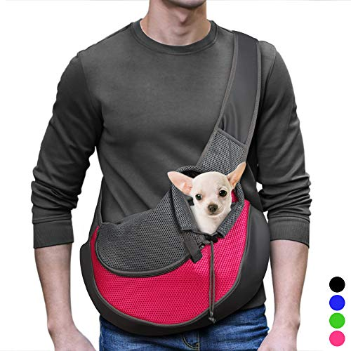 YUDODO Pet Dog Sling Carrier Breathable Mesh Travel Safe Sling Bag Carrier for Dogs Cats (M up to...
