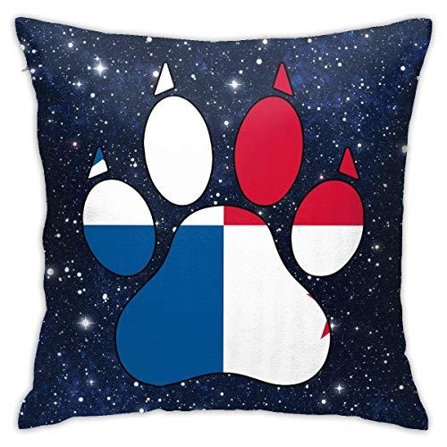 Funda de Almohada con Forma de Pata de Perro con Bandera de Panamá, Funda de cojín Cuadrada, sofá para el hogar, Decorativo, 18 x 18 Pulgadas