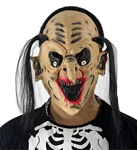 Blancho Cheveux Longs Tip Nez Masque de Terreur fête d'halloween Masque Mascarade Masque Cosplay