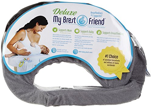 My Brest Friend Deluxe Nursing Pillow for Comfortable Posture, Evening Grey