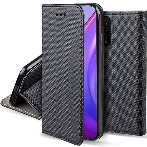 Moozy Hülle Flip Hülle für Xiaomi Mi 10T 5G & Mi 10T Pro 5G, Schwarz - Dünne Magnetische Klapphülle Handyhülle mit Kartenfach & Standfunktion
