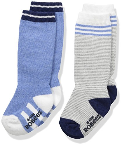 Robeez Baby Boys' 2 Pack Boot Socks, Stripes and Solids - Blue, 0-6 months