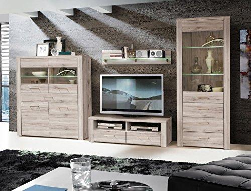 Wohnwand Phil 22 Sandeiche Medienwand mit Beleuchtung 4-teilig 2X Vitrine Lowboard Wandboard Wohnzimmer