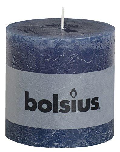 RUSTIC Dark Blue Pillar Candle, Paraffin Wax, 10x10x10 cm