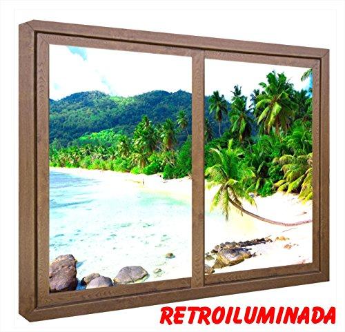 CCRETROILUMINADOS Cuadros Decorativos. Ventanas Falsas Retroiluminadas. Playa con Palmeras (60_x_100_cms, Madera)
