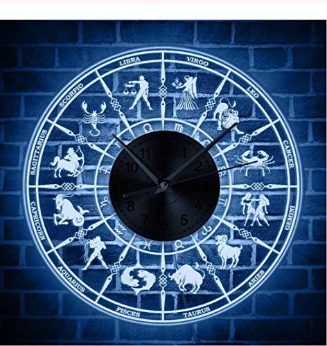 Djkaa 12 Sternzeichen astrologische LED beleuchtet Wanduhr Astrologie Beleuchtung Home Decor Acryl Uhr Wand Licht Sternbild Geschenk