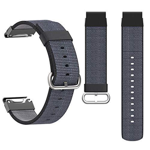 KHZBS 22mm Quick Fit Comfortable Nylon Strap Replacement for Garmin Fenix 5/5 Plus/Fenix 6/ Forerunner 935/945/Approach S60/ Instinct/Quatix 5 Smartwatch Band