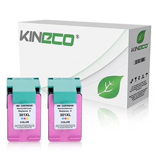 2 Kineco Tintenpatronen kompatibel zu HP 301XL 301 XL für HP Deskjet 2540, 1510, 1010, Envy 4500 e-All-in-One, 5530 eAIO, OfficeJet 4630, 4632 e-All-in-One - Color je 21ml