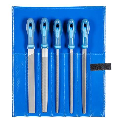 PFERD Werkstattfeilen-Set in PVC-Rolltasche, 5 Feilen, Kreuzhieb H2, 250mm, 11800542 – für universelle Schrupp- und Schlichtarbeiten geeignet