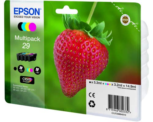 Photo of Epson Strawberry 29 T2986 Claria Home Multipack (Black 5.3 ml + Cyan, Magenta, Yellow 3.2 ml) Ink Cartridges (Blister Pack)