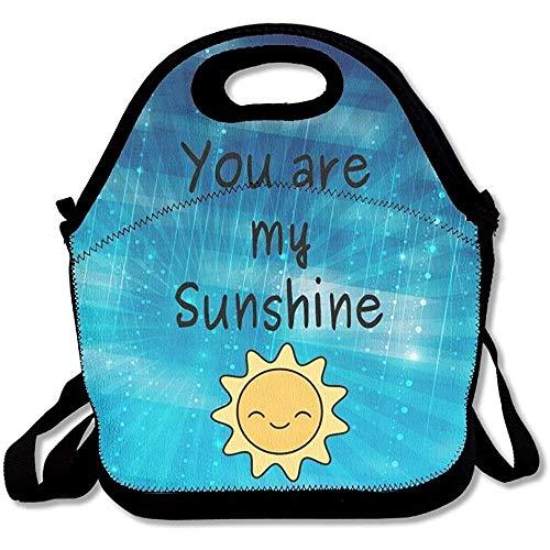 You are My Sunshine - Bolsas de almuerzo de neopreno grandes y gruesas con aislamiento, bolsa térmica y cálida con correa para el hombro para mujeres, adolescentes, niñas, niños y adultos