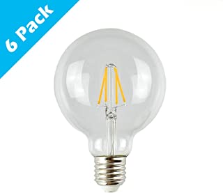 HaoHZ 6-Pack Edison LED Globe Bulb, G95 Antique Vintage Dimmable Filament Light Bulb, Clear Glass, E26/E27/B22, 110-240V, 3W,2700k(warmwhite)
