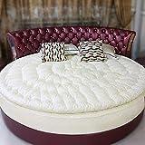ZAIPP Rotonda Coprimaterasso,Trapuntato Comfort Materasso Pieghevole Morbido Sano Bambini Bed Ground Riempimento 100% in Cotone Peso 2kg-Bianca Diametro220cm(87inch)