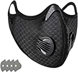 1 Pack Dust_mask Reusable Respirators Unisex Mouth_mask Adjustable for Allergies Woodworking,Cycling, Running,Outdoor Sports, Black with 4 Filters