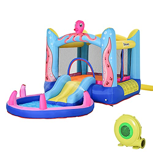 Outsunny Kids Bounce Castle House Inflatable Trampoline Slide Water Pool 3 in 1 with Inflator for Kids Age 3-10 Octopus Design 3.8 x 2 x 1.8m