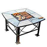 Wood Fire Pits Outdoor Square Outdoor Wood-burning Fire Bowl, Portable Campfire Pit, 86cm Large Garden Barbecue Table, With 4 Stools